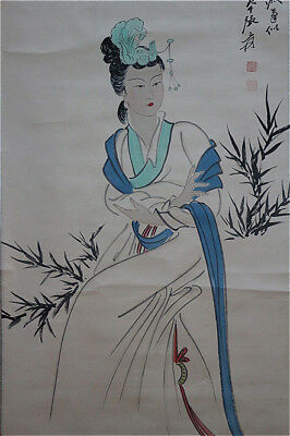 Excellent Chinese 100% Hand Painting & Scroll Beauty By Zhang Daqian 张大千 WEDYY38