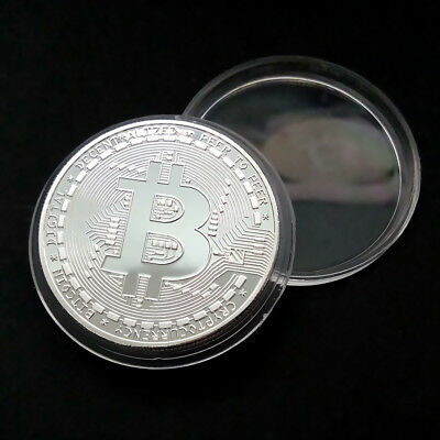 Hot!Rare!10 pcs Silver Plated Physical Bitcoin in protective acrylic case