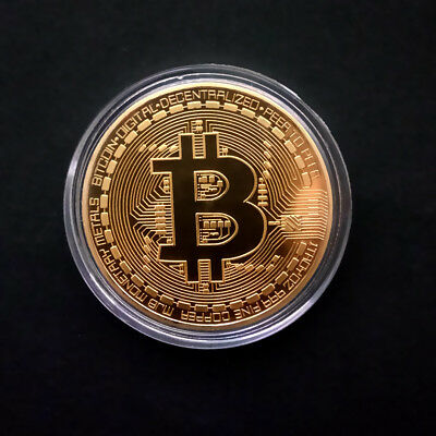 Hot!Rare!10 pcs Gold Plated Physical Bitcoin in protective acrylic case