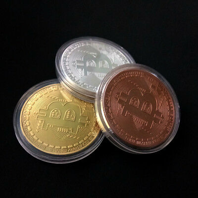 36 pcs 3 Color Plated Physical Bitcoin in protective acrylic case Gold Silver