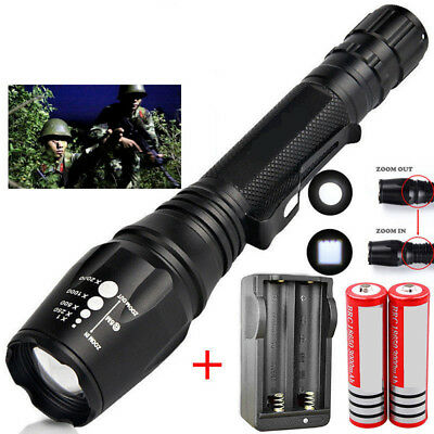 Tactical Zoomable 50000LM 5-Mode T6 LED Flashlight Torch+18650 Battery+Charger A