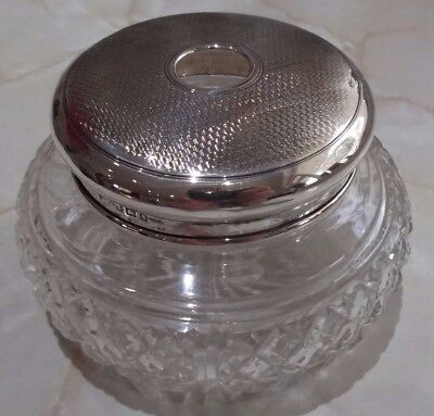 Antique Cut Glass Dressing Table Tidy With Silver Top. Hallmarked London C 1925.