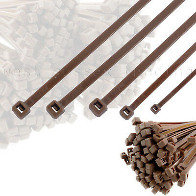Brown Cable Ties. Small, Medium & Large Size Zip Tie Wraps. Ideal for Garden