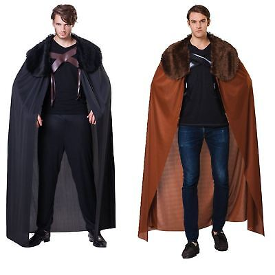 Mens Game Warrior Thrones Fur Trimmed Cape Cloak Medieval Fancy Dress Costume