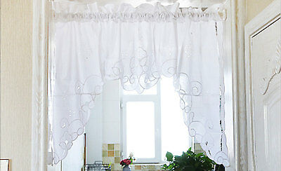 Beautiful Ribbon Rose Embroidery Hemstitch Cutwork Cotton Curtain Swag White CL