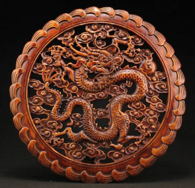 China Hand Work Old Xiang Zhang Sculptor Wood Carved Dragon Wall Panel