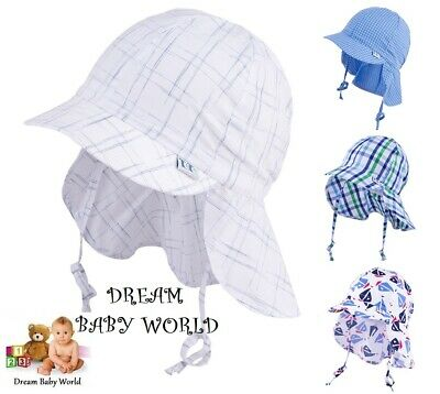 100% Cotton summer boys bonnet sun HAT 6 - 24 months 2 - 6 Years BABY HATS CAP