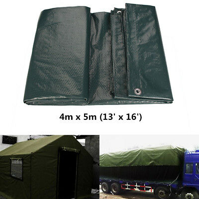 4m x 5m Waterproof Tarpaulin Ground Sheet Canopy Camping Strong Cover Heavy Duty