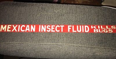 Vintage Mca Sign Co Repro Metal Sign Mexican Insect Fluid Kills Bugs Shelf Sign