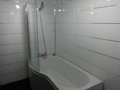 New  WHITE GLOSS 1 EDGE wet wall 250mm wide x 2700mm wide PVC CLADDING 5MMTHICK
