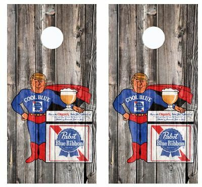 Pabst Blue Ribbon Pabst Man Cool Blue Barnwood Cornhole Board Wraps #2631