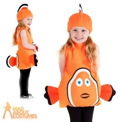 64bc0ee33425f Toddler Clown Fish Costume Nemo Child Fish Fancy Dress Outfit Book Week Day  Kids Sc 1 St PicClick UK