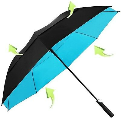 Golf Umbrella Windproof 62 Inch Oversized Double Vented Canopy Auto Open (Blue)