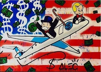 Alec-Monopoly  Hand-Painted Oil Painting art graffiti canvas American Airplane