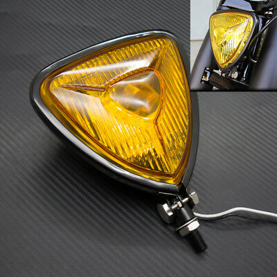 New Motorcycle Black Triangle Headlight Lamp Flat Back For Harley Chopper Bobber