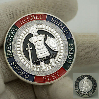 """Armor of God """"Pray Always"""" Military Challenge coin Collectible Ephesians 6:11-18"""