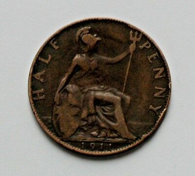 1911 UK (British) George V Coin - Half Penny (1/2d) - circulated