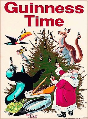 Guinness Time Beer Santa Claus Ireland Vintage Travel Art Poster Print