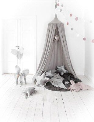Canopy Tent Mosquito Net Dome Baby Nursery Crib Bedroom Cotton - Grey
