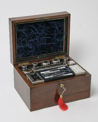 Antique Burr Walnut Dressing Case & Silver Plated Fittings, Samuel Fisher London