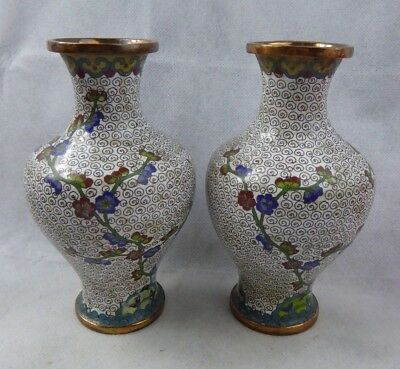 Chinese Antique 19th century Cloisonne Baluster Vase Pair - Fine Quality Qing