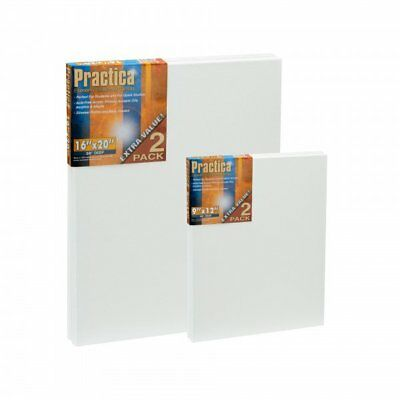 "Practica Economy Stretched Canvas 5/8"" Cotton Acid Free Artist Painting 2 Packs"