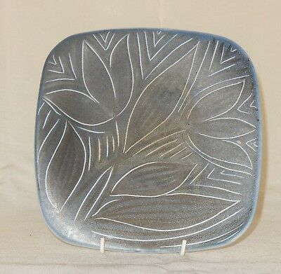Vintage Norwegian Art Pottery Plate Tulip Design 21.5cm square