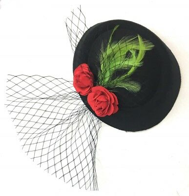 Black Pillbox Red Roses Green Feather Leaves Fascinator Hat with Veil Hatinator