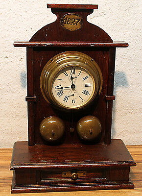 Old Table Clock Mantel/Carriage Clock Alarm Braket Clock with 2 Bell *KIENZLE*