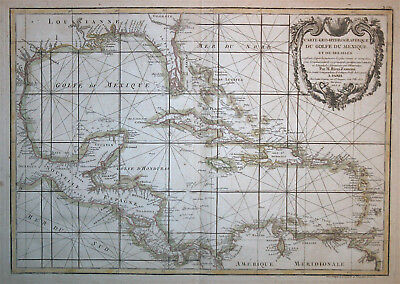 Nautical Chart Of The Gulf Of Mexico - Caribbean Florida - Lattre' 1787