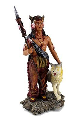 Native American Warrior With Wolf Collectible Indian Figurine Statue 7.5 Inches