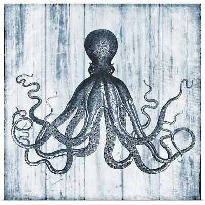 Poster Print Wall Art entitled Blue Octopus On Wood