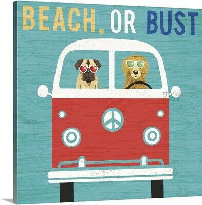 Solid-Faced Canvas Print Wall Art entitled Beach Bums Bus