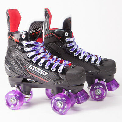 Bauer Quad Roller Skates - NSX - 2018 Model - Conversion - Purple Ventro Wheels