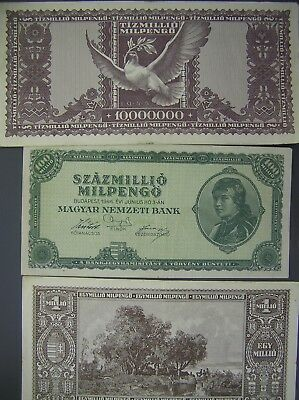 1946 Hungary Lot of 3 Old Banknotes, P-128, P-129, P-130
