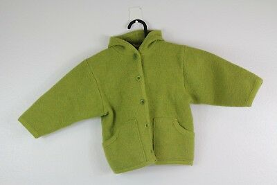 Disana Toddler Size 2-3 Years Hooded Jacket Coat Virgin Wool Green Spring 2T 3T