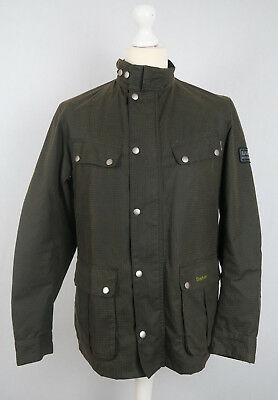 Barbour International SMU ENFIELD Waxed Wax Cotton Jacket M MEDIUM OLIVE BROWN