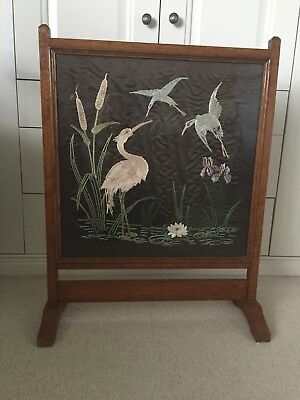 Fire Screen Victorian mahogany pretty flamingo silk Decoration.