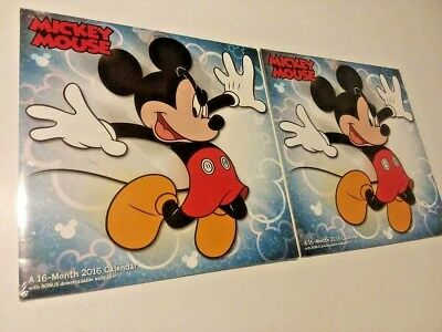 2 Lot Mickey Mouse - A 2016 - Month Calendar ( Brand New Still Sealed ) *** Free