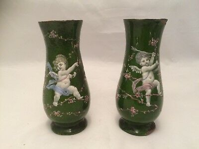 Antique French Enamel Cherub/bagpipe Signed Vases