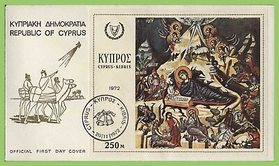 Cyprus 1972 Christmas miniature sheet on First Day Cover