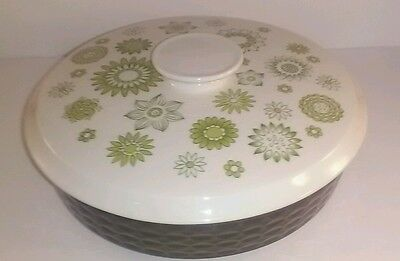 Vintage Myott green corsage serving dish