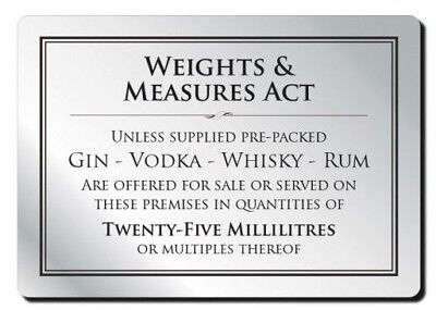 25ml Weights & Measures Act Alcohol Law Sign Pub Bar Restaurant Licensing Notice