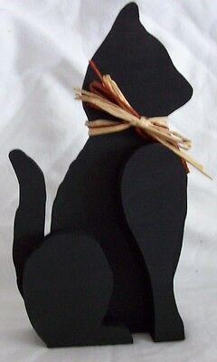 "Wooden black Cat,Hand cut and hand painted,9"" high, 4 1/2"" wide.Home Decor'"