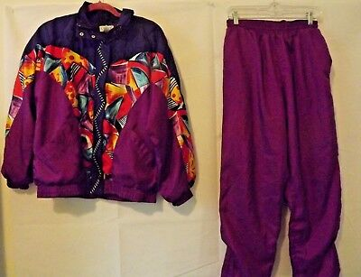 Vintage Lavon Women's Purple Navy Red Abstract Track Suit Windbreaker MEDIUM