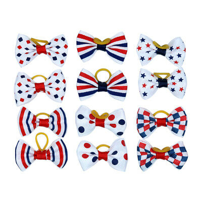 4th of July/July 4 Cute Pet Hair Bows with Rubber Bands Pet Hair Accessories