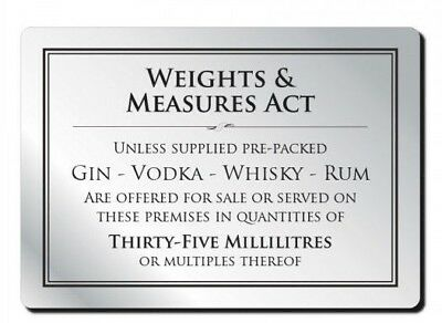 35ml Weights & Measures Act Alcohol Law Sign Pub Bar Restaurant Licensing Notice