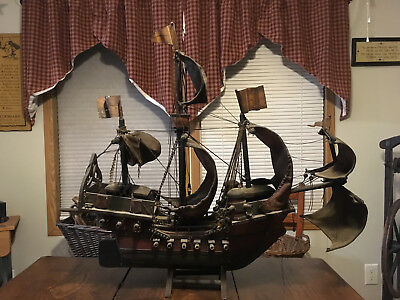 "Large 29"" Antique Folk Art Pirate Ship Model-Leather Sails-Wood-Rope-Metal Flags"