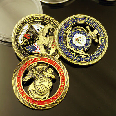 3x U S Army Core Values Marine Corps Usn Commitment Challenge Coin Collectible