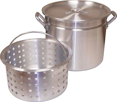 Aluminum 60Qt Boiling Pot w/ Steamer Rim Lid Punched Basket Silver Kitchen Tools